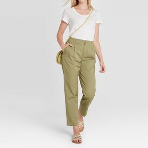High rise straight ankle pants olive green